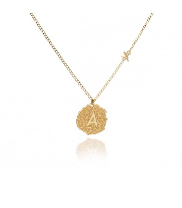 Medalion with letter necklace YA 925