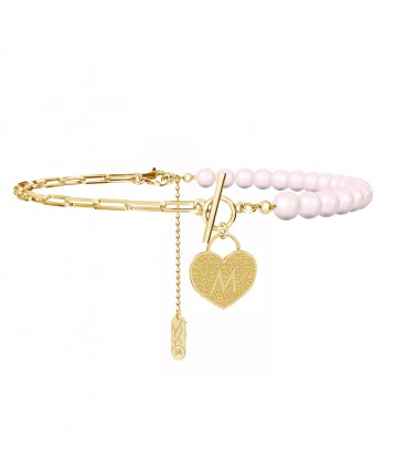 Choker with pearls, padlock heart and your letter, YA 925