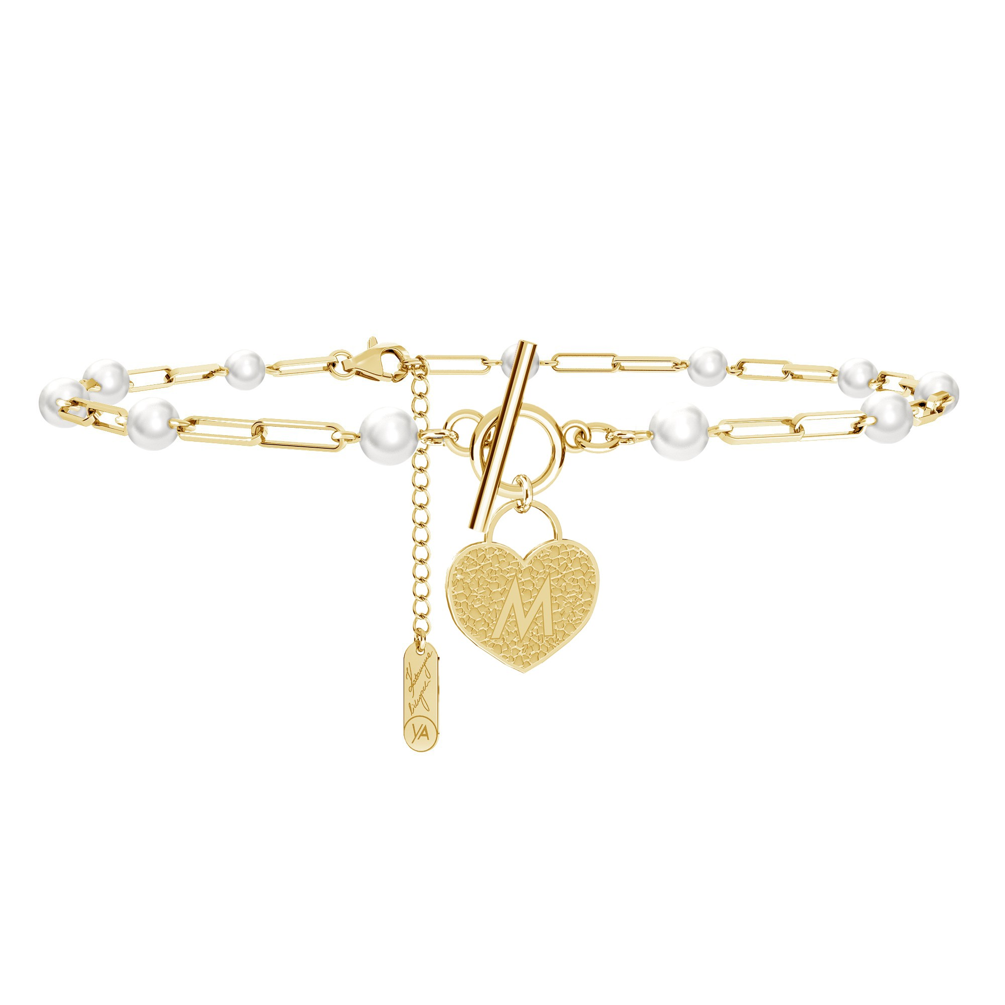 Choker with pearls, padlock and your letter, YA 925