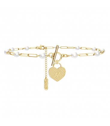 Chain choker with pearls, heart padlock and your letter, YA 925