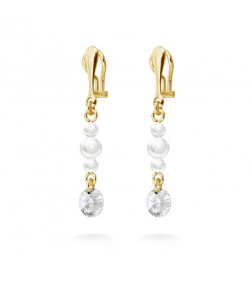 Earrings with crystals & pearls YA 925