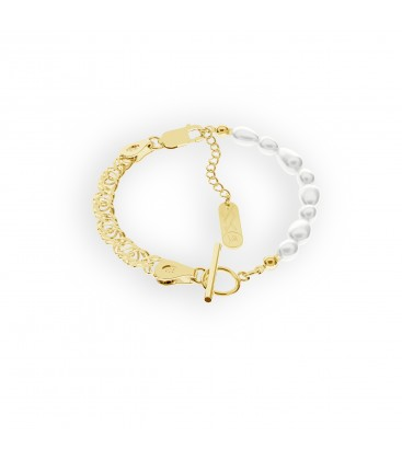 Bracelet with natural pearls charms base YA 925